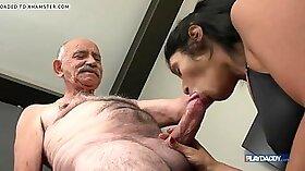 Big dick grandpa enjoys sucking his load