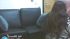 Arab girl with flat tits fucks in office