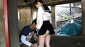 Tiny teen Japanese schoolgirls fuck hardcore straight stud