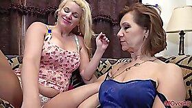 Cum hungry lesbians lick and finger wet cunts