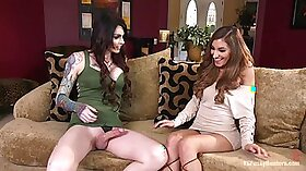 Ardent babes Vanessa and Angel Fraser share one hard pecker