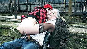 Hottie Ilexxi rides grandpas huge dick teen girl Masturbates Public!