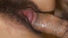 Hairy wet pussy Japanese babe in stockings gets her pussy filled up with cum