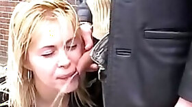 A Guy Pisses Over The Lips Of Young Perverted Woman On The Street