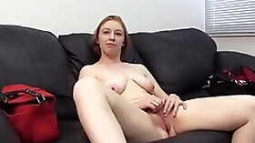 Curvy cock and swallowing redhead gets finger fucked over a desk