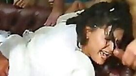 Slutty Brunette Gets Gangbanged In Front Of Her Cuckold Husband