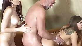Kinky old guy has two pussies to choose from
