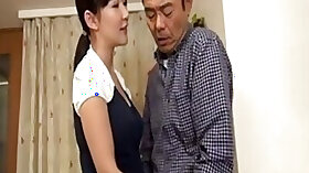Horny Japanese woman grabbing him by the cock