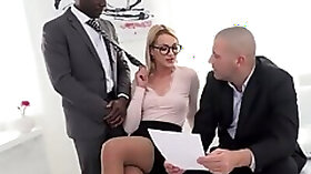Whorish female boss Cherry Kiss hooks up with a big black and white co workers