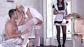 Curvy nurse babe Barbie Laine gets ripped in MMF threesome