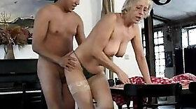 Blonde german mature slut sucks and fucks big cock