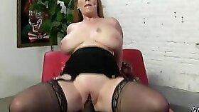 Bald ass tramp in white dress enjoys an interracial anal sex
