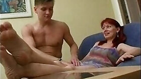 Busty MILF mom doing double face fucking