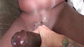 Black soaked pussy in white belt sorta bras