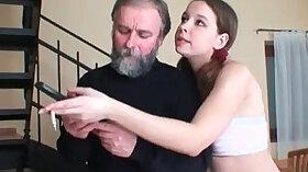 Chubby babe sucks and worships grandpas cock