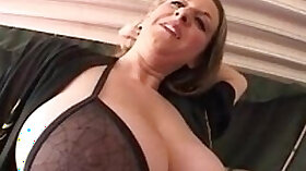 Curly-haired mom gets dick strapped,rooved and nasty from behind POV